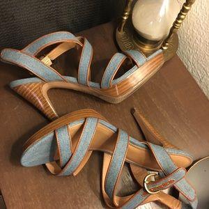 Kelly & Kate Denim Heel Sandals